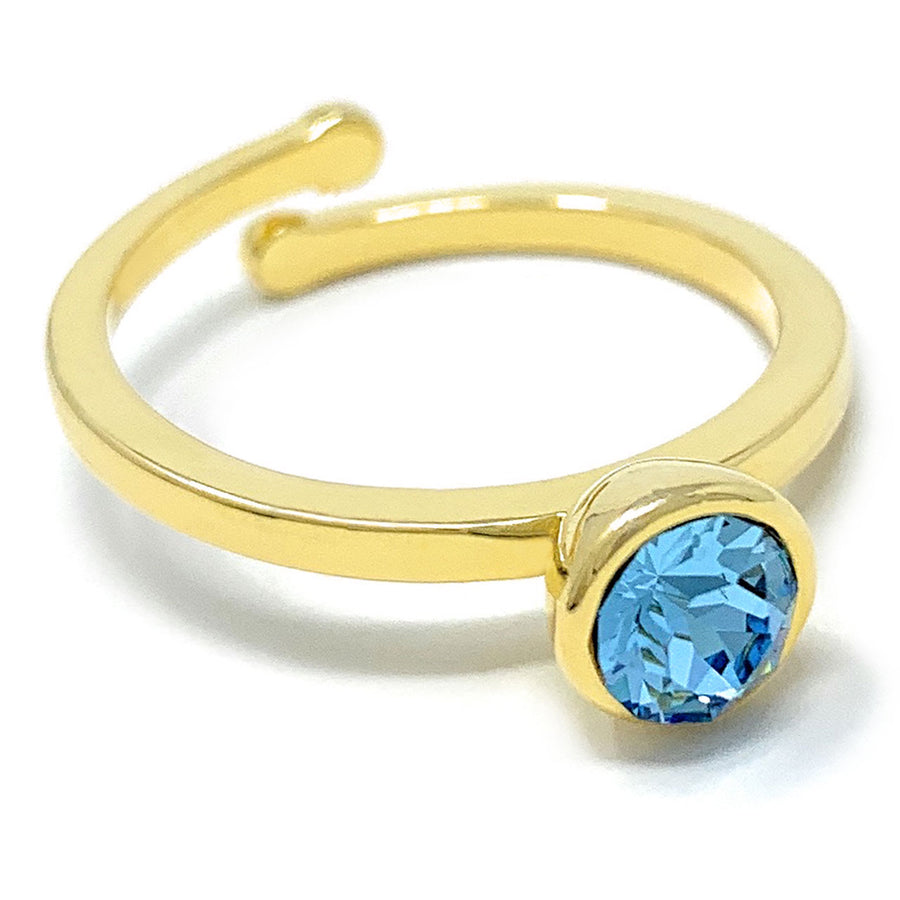 Harley Adjustable Ring with Blue Aquamarine Round Crystals from Swarovski Gold Plated