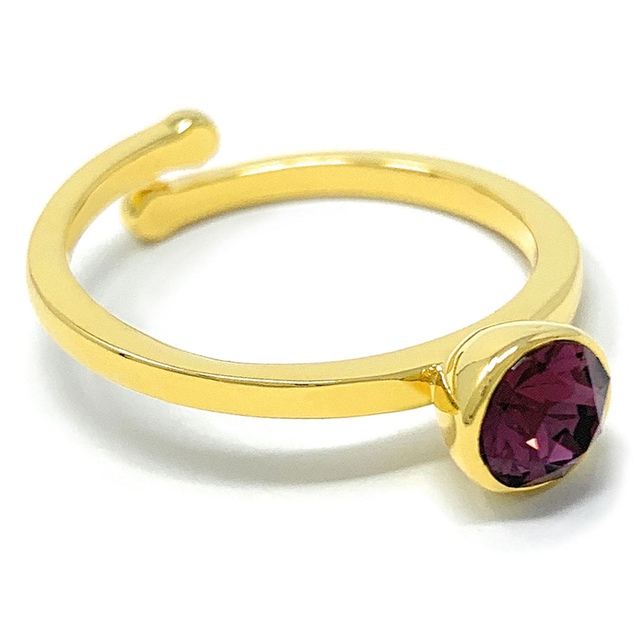 Harley Adjustable Ring with Purple Amethyst Round Crystals from Swarovski Gold Plated