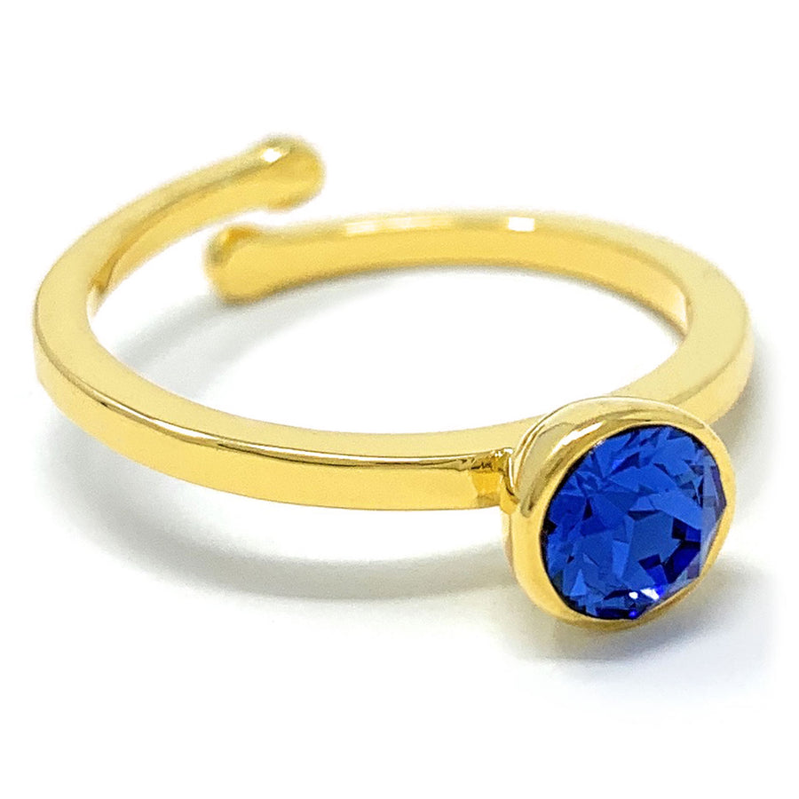 Harley Adjustable Ring with Blue Sapphire Round Crystals from Swarovski Gold Plated