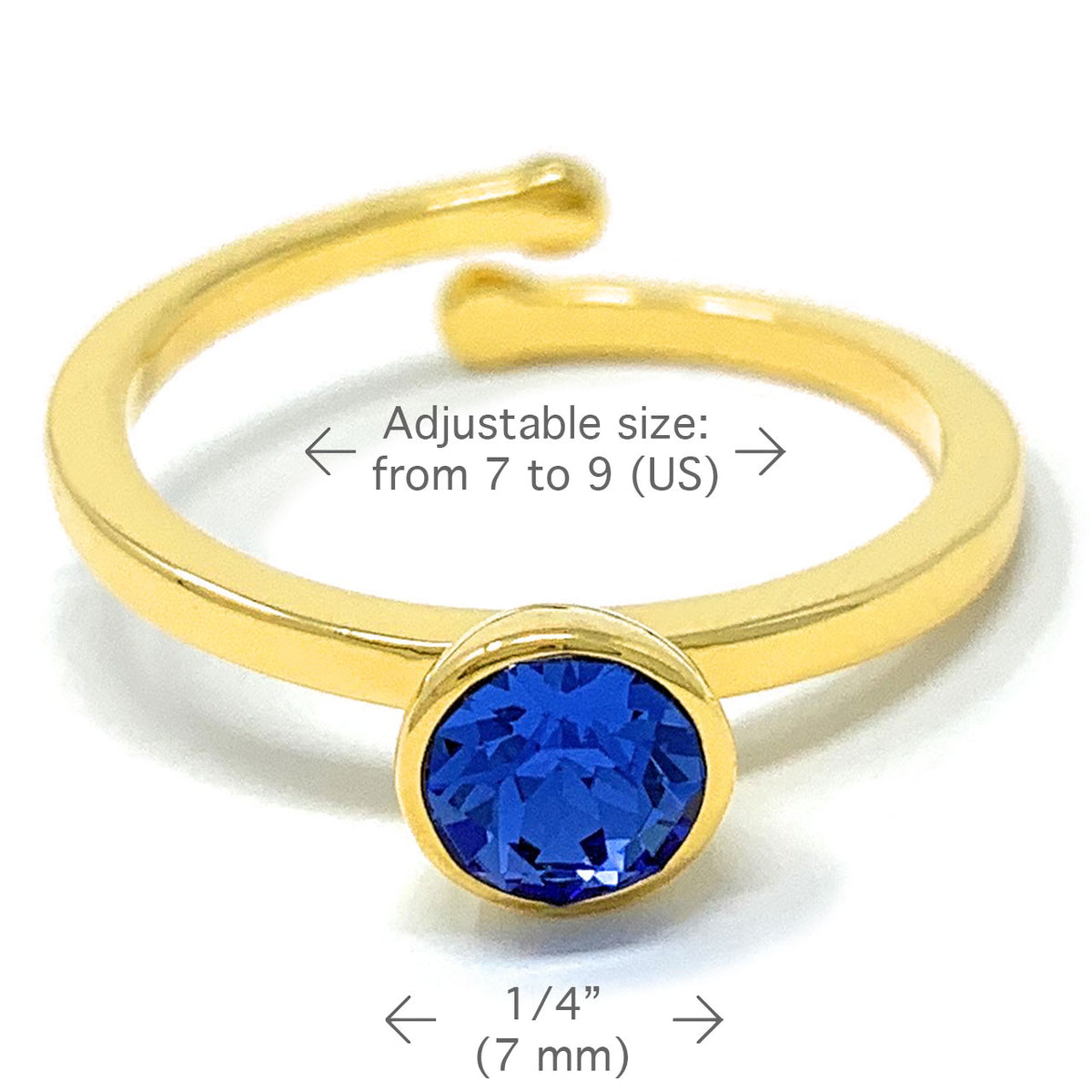 Harley Adjustable Ring with Blue Sapphire Round Crystals from Swarovski Gold Plated - Ed Heart