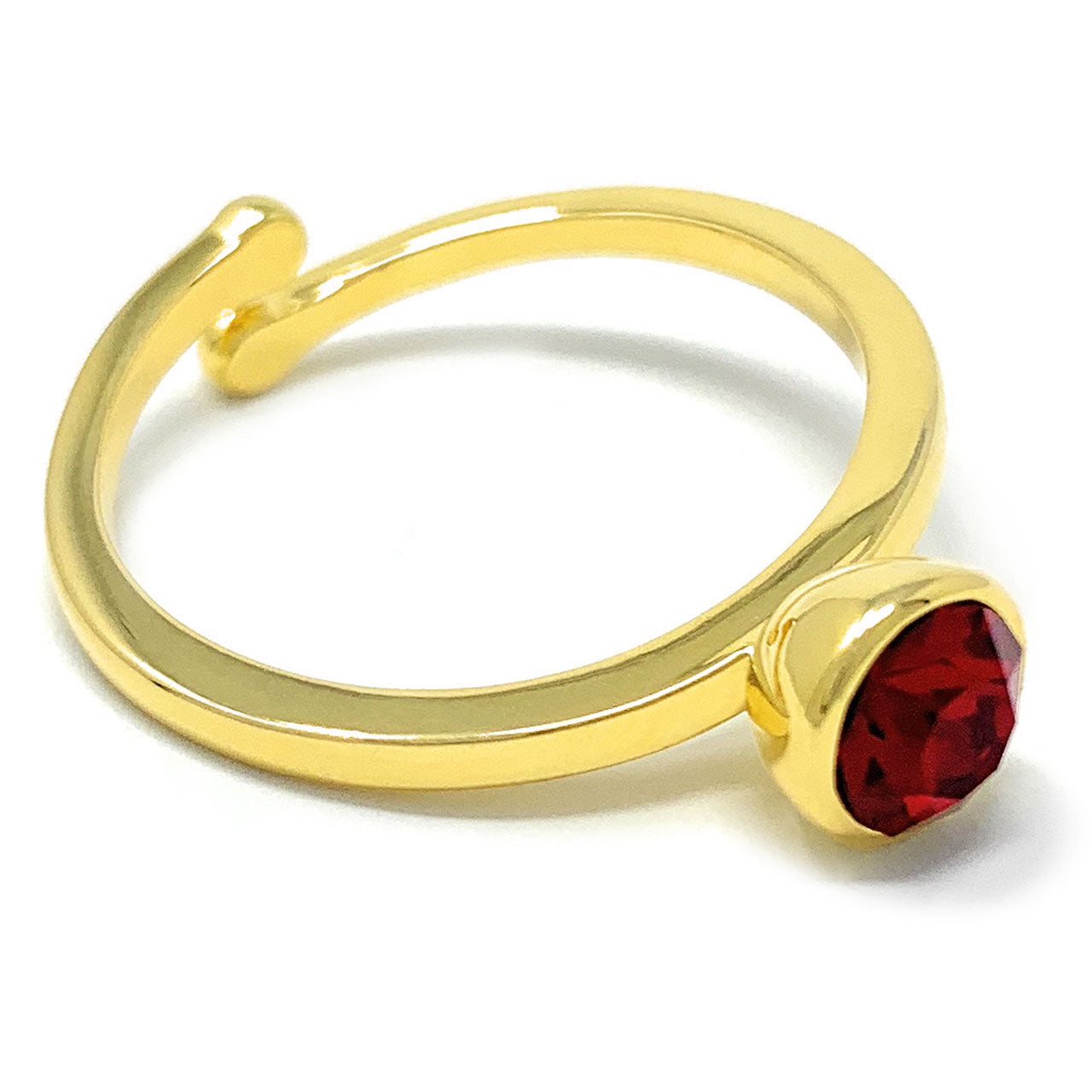 Harley Adjustable Ring with Red Siam Round Crystals from Swarovski Gold Plated - Ed Heart
