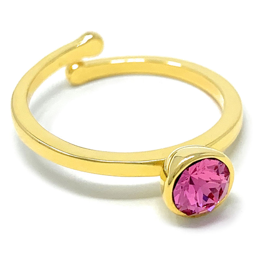 Harley Adjustable Ring with Pink Rose Round Crystals from Swarovski Gold Plated - Ed Heart