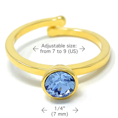 Harley Adjustable Ring with Blue Light Sapphire Round Crystals from Swarovski Gold Plated - Ed Heart