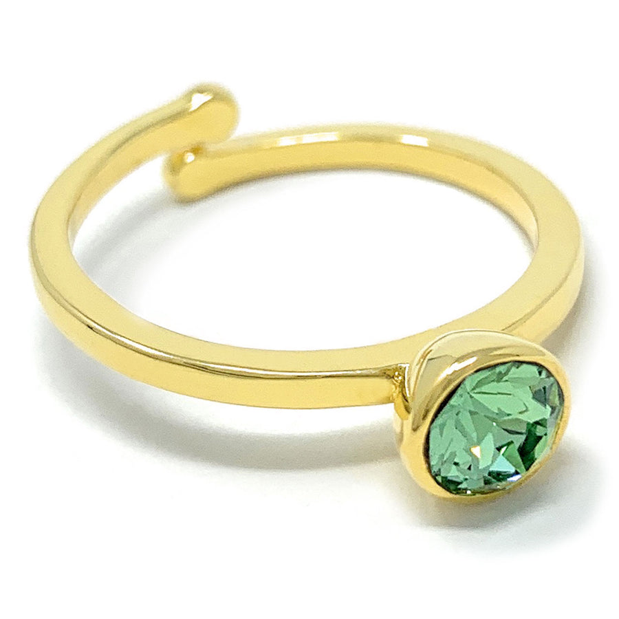 Harley Adjustable Ring with Green Peridot Round Crystals from Swarovski Gold Plated
