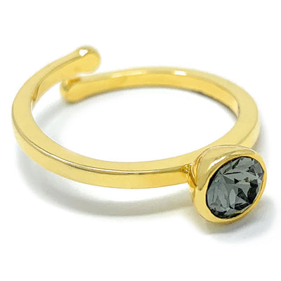 Harley Adjustable Ring with Black Diamond Round Crystals from Swarovski Gold Plated - Ed Heart