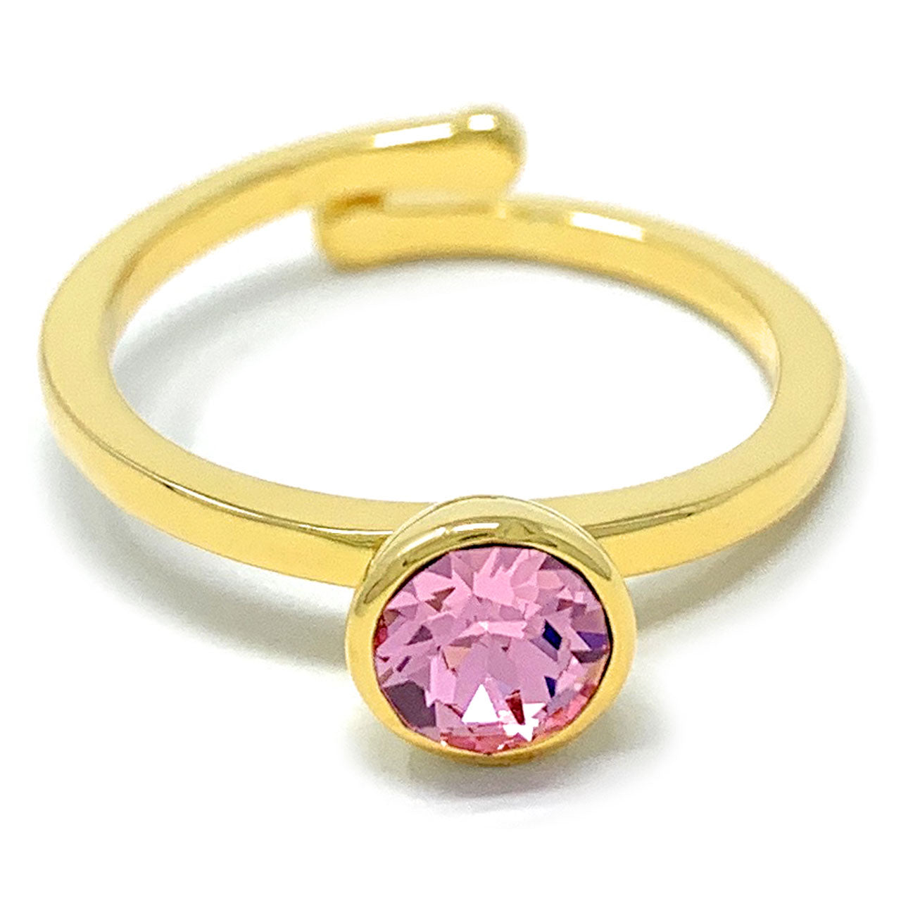 Harley Adjustable Ring with Pink Light Rose Round Crystals from Swarovski Gold Plated - Ed Heart