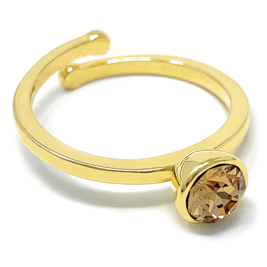 Harley Adjustable Ring with Yellow Brown Light Topaz Round Crystals from Swarovski Gold Plated