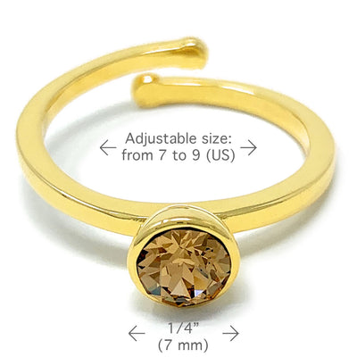 Harley Adjustable Ring with Yellow Brown Light Topaz Round Crystals from Swarovski Gold Plated - Ed Heart