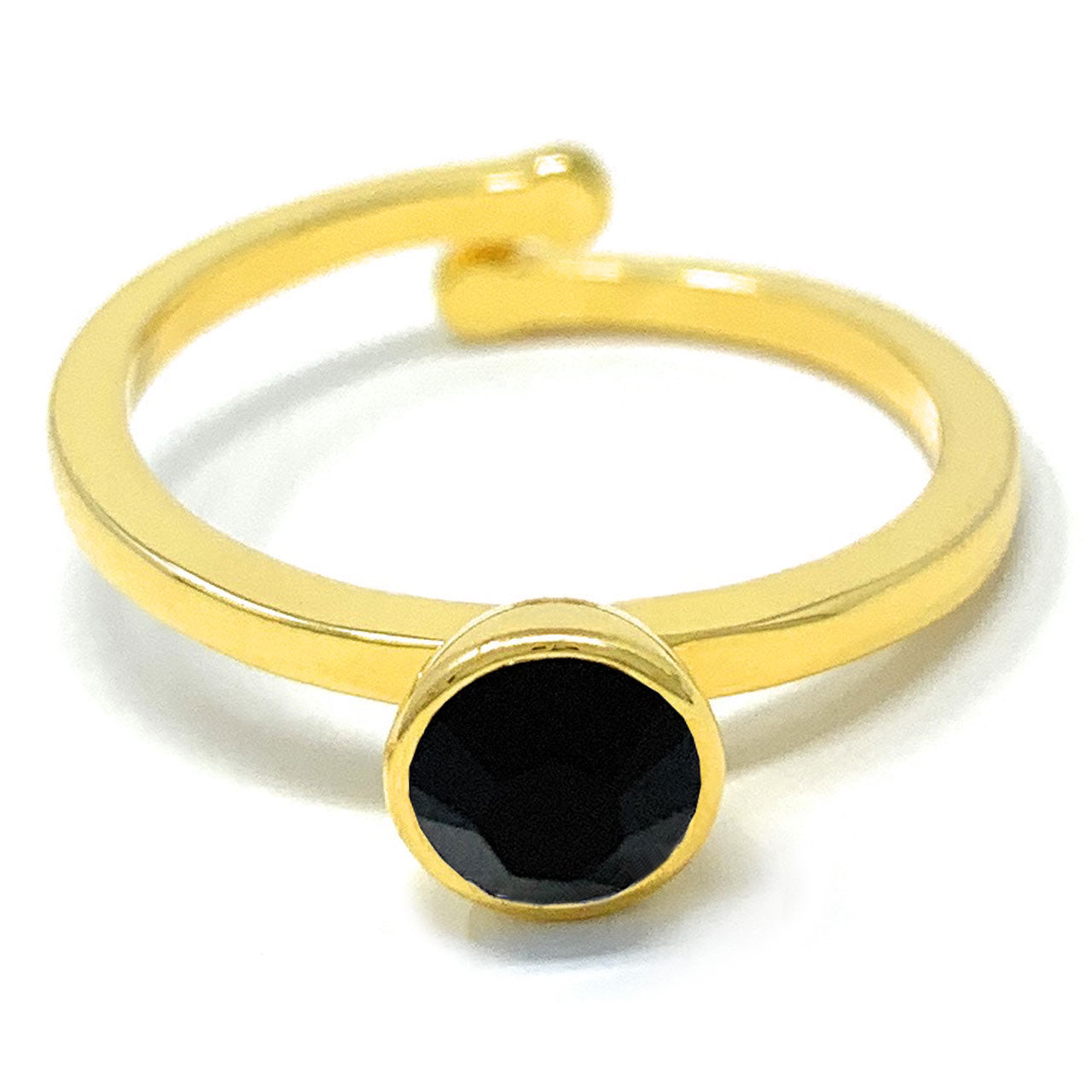 Harley Adjustable Ring with Black Jet Round Crystals from Swarovski Gold Plated - Ed Heart