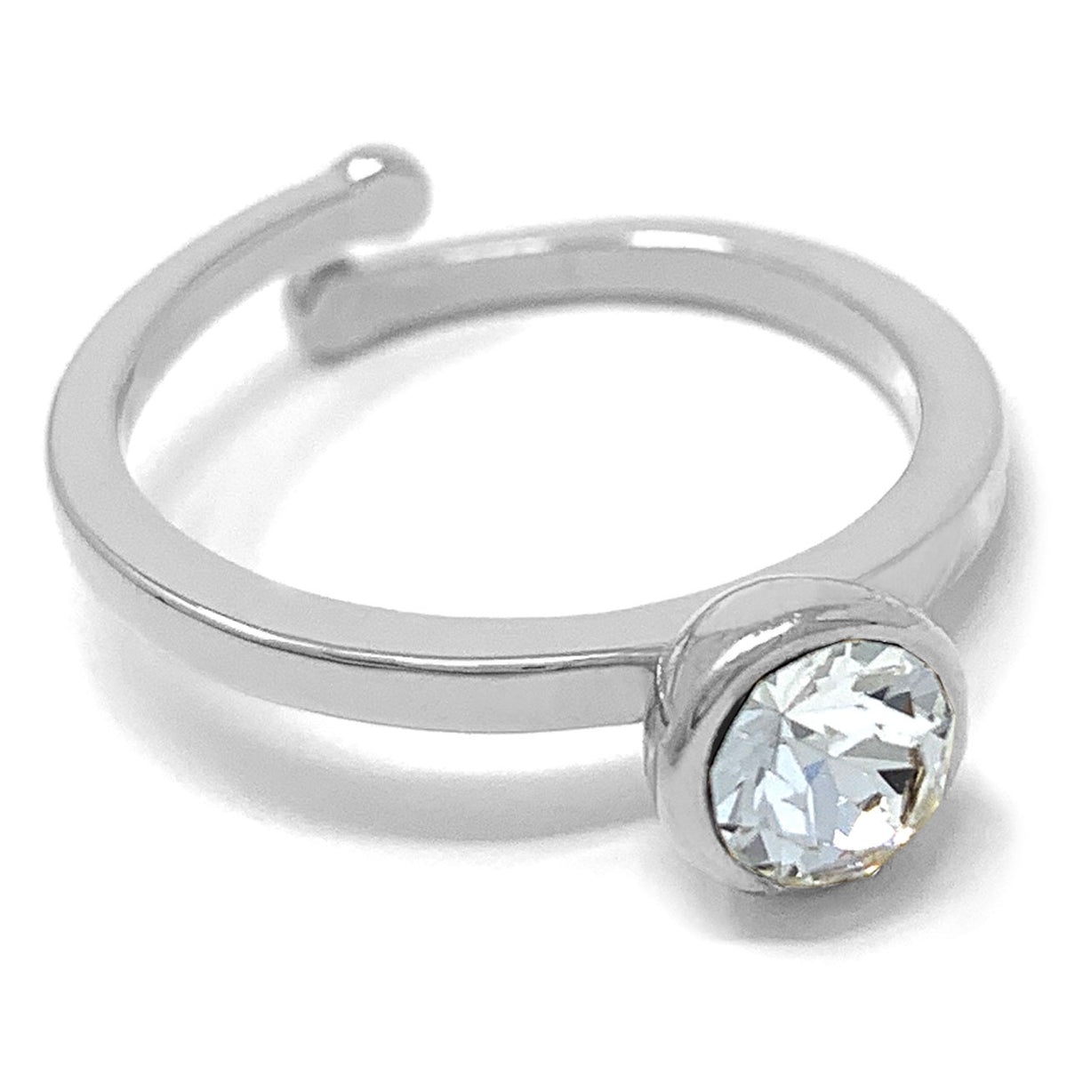 Harley Adjustable Ring with White Clear Round Crystals from Swarovski Silver Toned Rhodium Plated - Ed Heart