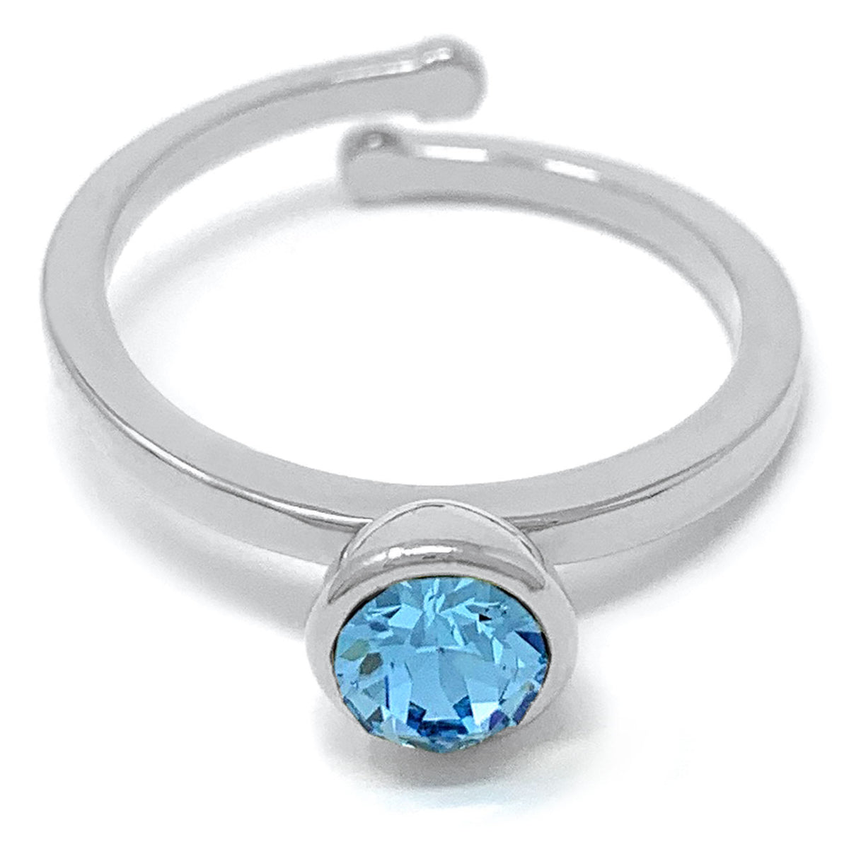 Harley Adjustable Ring with Blue Aquamarine Round Crystals from Swarovski Silver Toned Rhodium Plated - Ed Heart