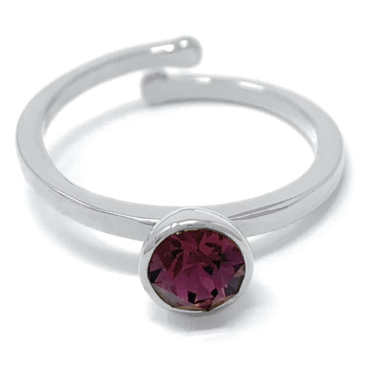 Harley Adjustable Ring with Purple Amethyst Round Crystals from Swarovski Silver Toned Rhodium Plated - Ed Heart