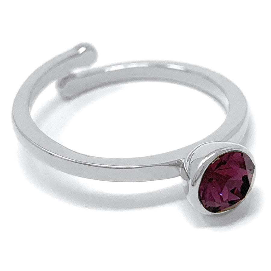 Harley Adjustable Ring with Purple Amethyst Round Crystals from Swarovski Silver Toned Rhodium Plated