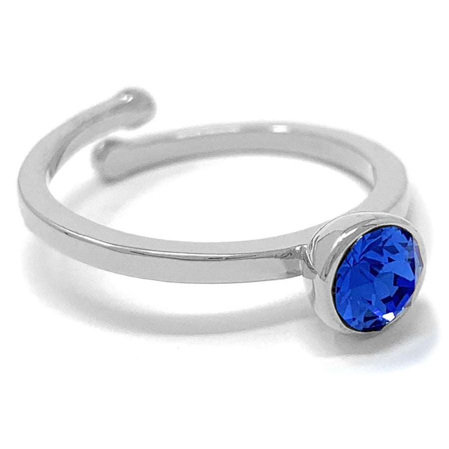Harley Adjustable Ring with Blue Sapphire Round Crystals from Swarovski Silver Toned Rhodium Plated - Ed Heart