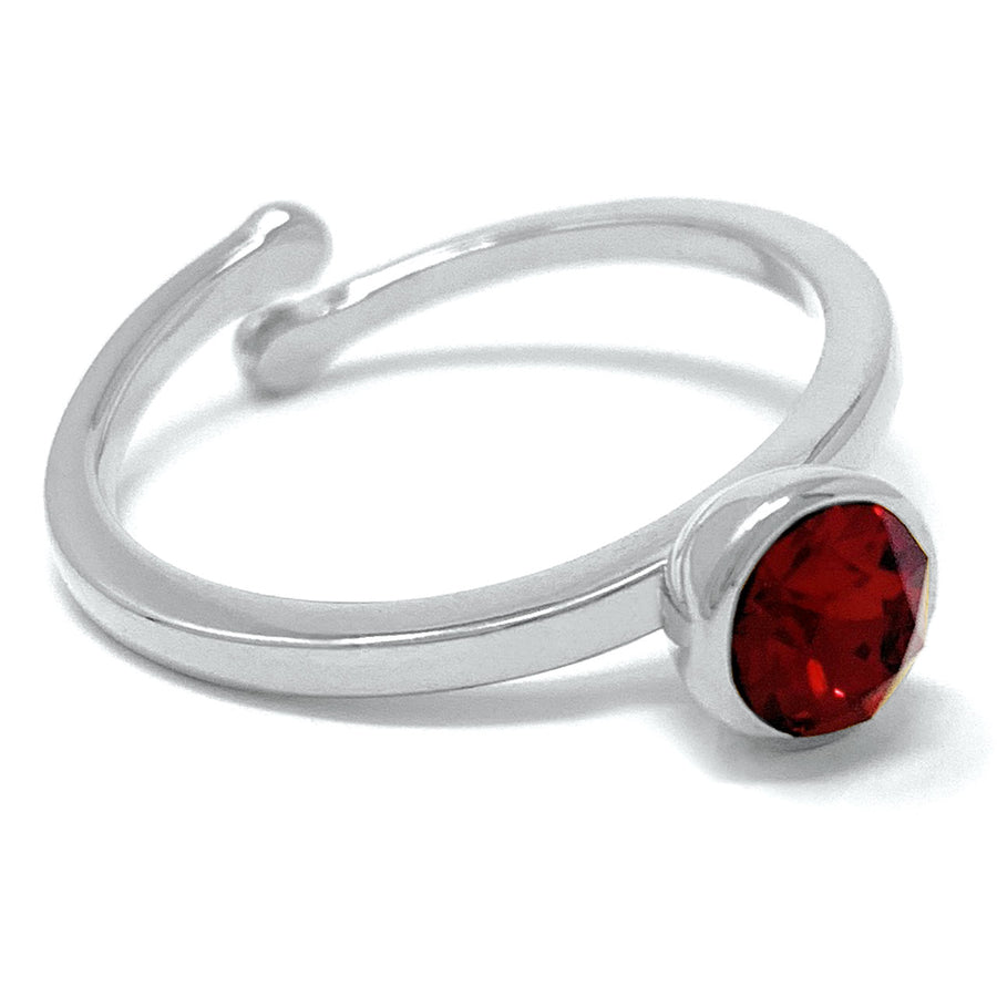 Harley Adjustable Ring with Red Siam Round Crystals from Swarovski Silver Toned Rhodium Plated - Ed Heart