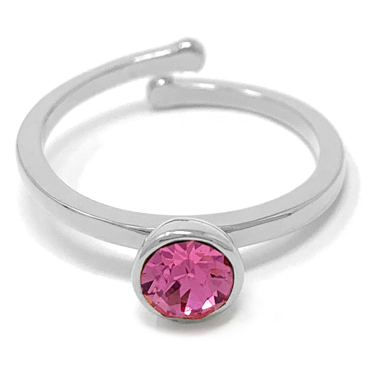 Harley Adjustable Ring with Pink Rose Round Crystals from Swarovski Silver Toned Rhodium Plated - Ed Heart