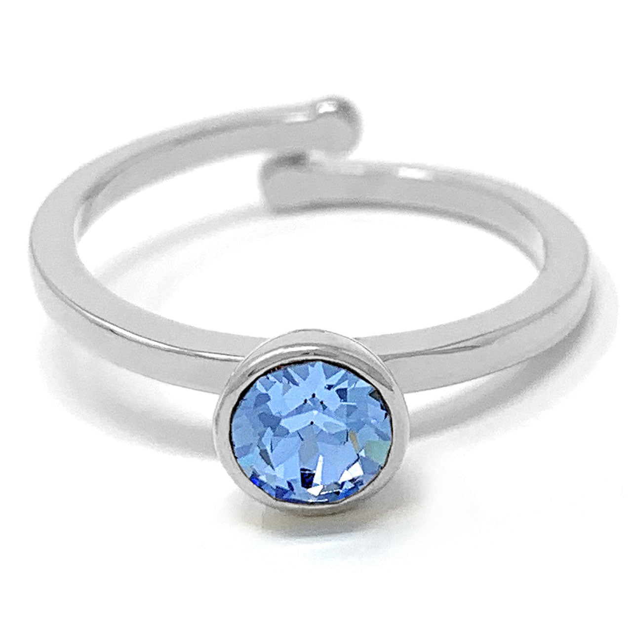 Harley Adjustable Ring with Blue Light Sapphire Round Crystals from Swarovski Silver Toned Rhodium Plated - Ed Heart
