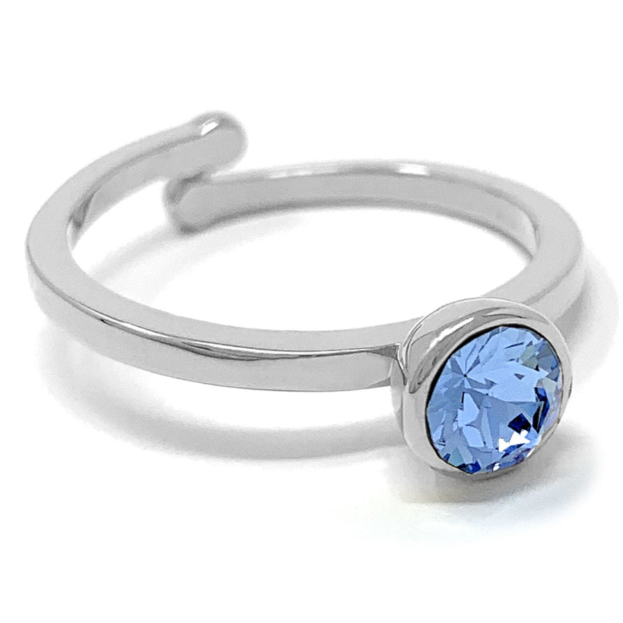 Harley Adjustable Ring with Blue Light Sapphire Round Crystals from Swarovski Silver Toned Rhodium Plated