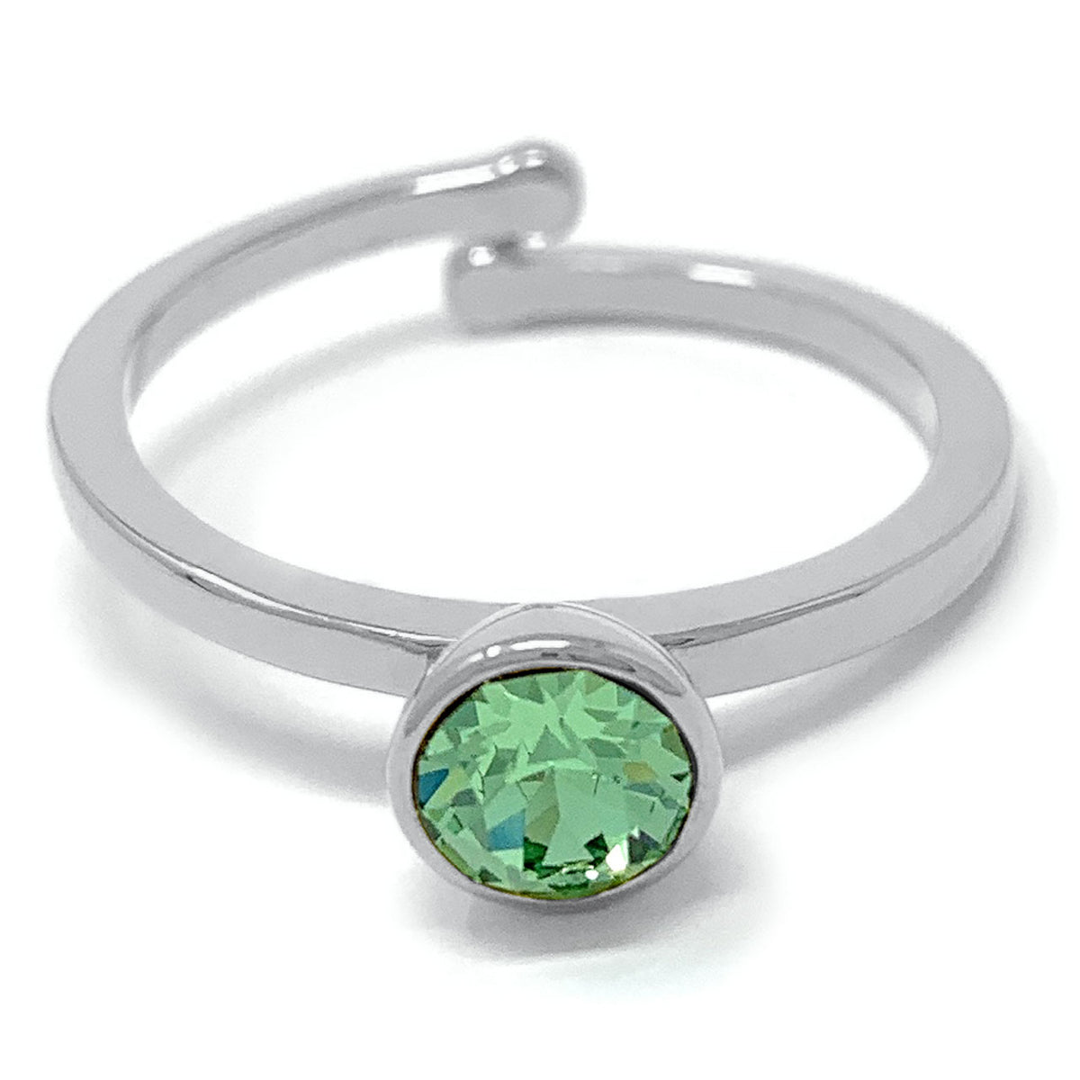 Harley Adjustable Ring with Green Peridot Round Crystals from Swarovski Silver Toned Rhodium Plated - Ed Heart