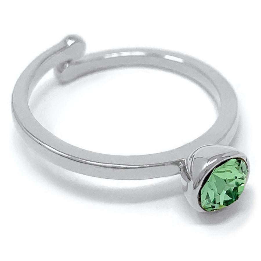 Harley Adjustable Ring with Green Peridot Round Crystals from Swarovski Silver Toned Rhodium Plated