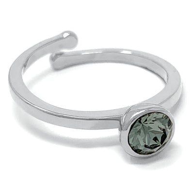 Harley Adjustable Ring with Black Diamond Round Crystals from Swarovski Silver Toned Rhodium Plated - Ed Heart