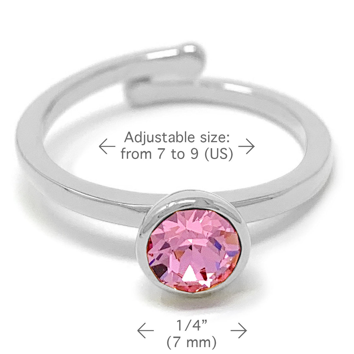 Harley Adjustable Ring with Pink Light Rose Round Crystals from Swarovski Silver Toned Rhodium Plated - Ed Heart