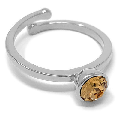 Harley Adjustable Ring with Yellow Brown Light Topaz Round Crystals from Swarovski Silver Toned Rhodium Plated - Ed Heart