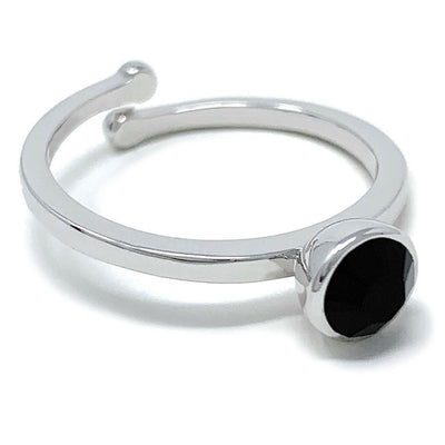 Harley Adjustable Ring with Black Jet Round Crystals from Swarovski Silver Toned Rhodium Plated - Ed Heart