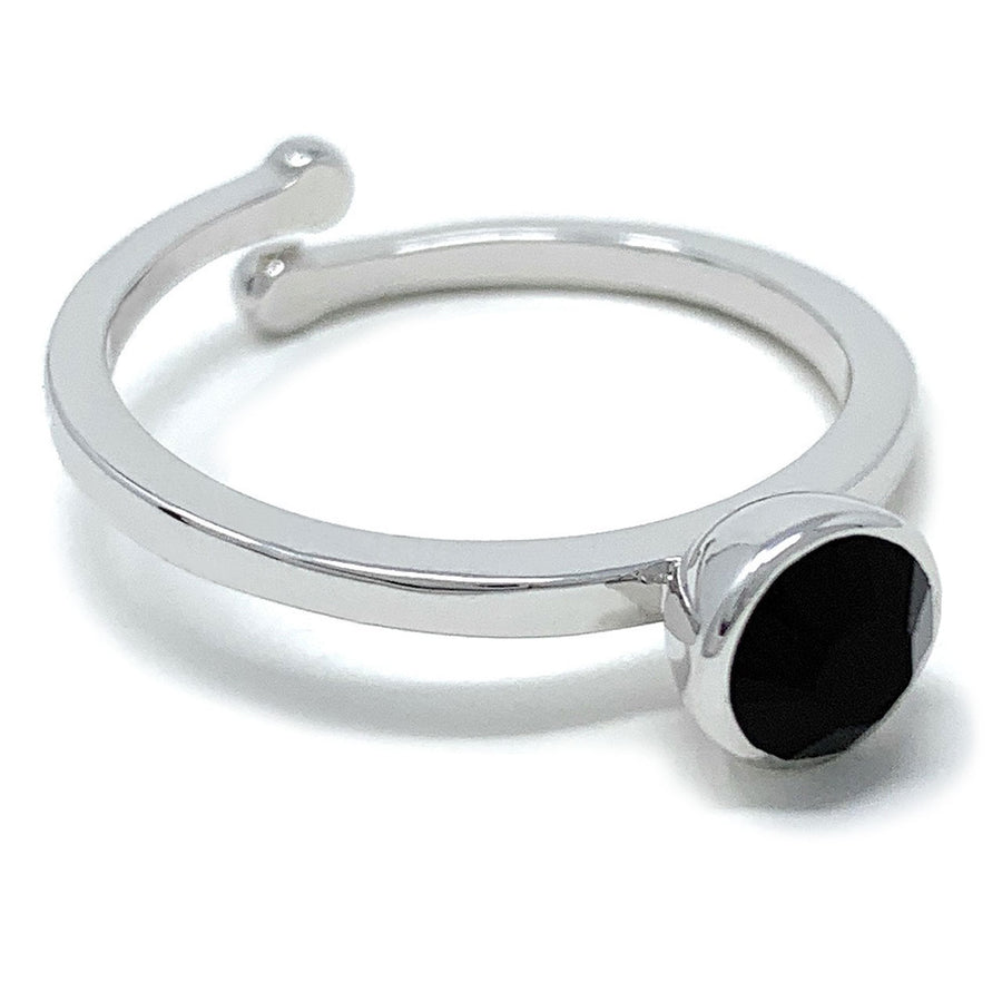 Harley Adjustable Ring with Black Jet Round Crystals from Swarovski Silver Toned Rhodium Plated