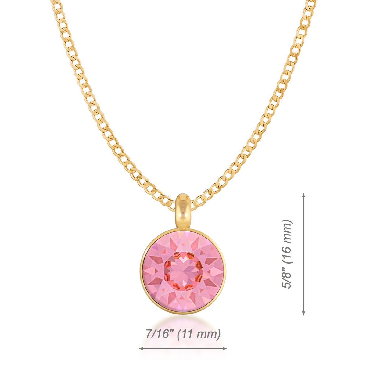 Bella Pendant Necklace with Pink Light Rose Round Crystals from Swarovski Gold Plated - Ed Heart