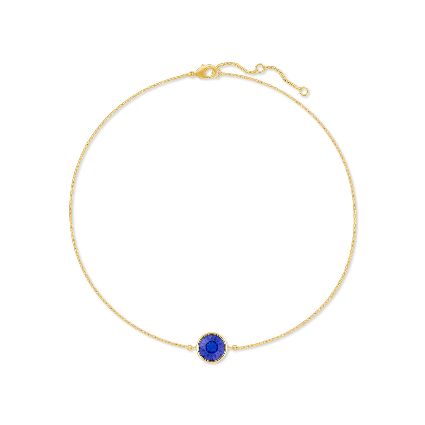 Harley Chain Bracelet with Blue Sapphire Round Crystals from Swarovski Gold Plated - Ed Heart