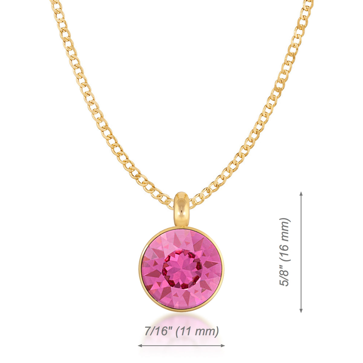 Bella Pendant Necklace with Pink Rose Round Crystals from Swarovski Gold Plated - Ed Heart