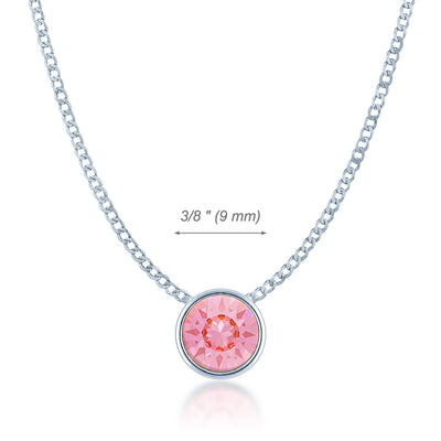 Harley Small Pendant Necklace with Pink Light Rose Round Crystals from Swarovski Silver Toned Rhodium Plated - Ed Heart