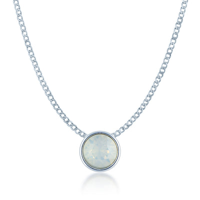 Harley Small Pendant Necklace with Ivory White Round Opals from Swarovski Silver Toned Rhodium Plated - Ed Heart