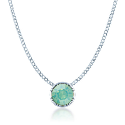 Harley Small Pendant Necklace with Green Blue Pacific Round Opals from Swarovski Silver Toned Rhodium Plated - Ed Heart