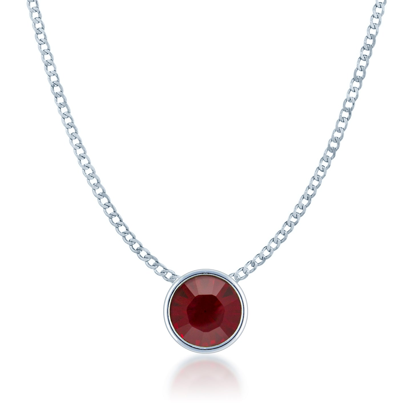 d6cd905efc8a Harley Small Pendant Necklace with Red Siam Round Crystals from Swarovski  Silver Toned Rhodium Plated -