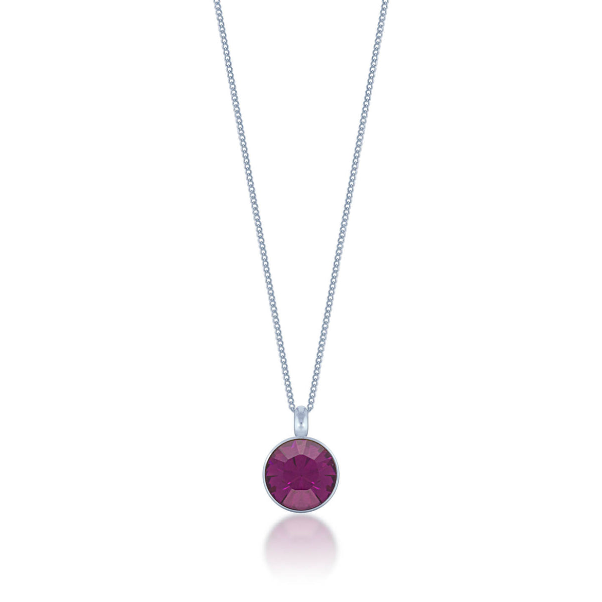 Bella Pendant Necklace with Purple Amethyst Round Crystals from Swarovski Silver Toned Rhodium Plated - Ed Heart