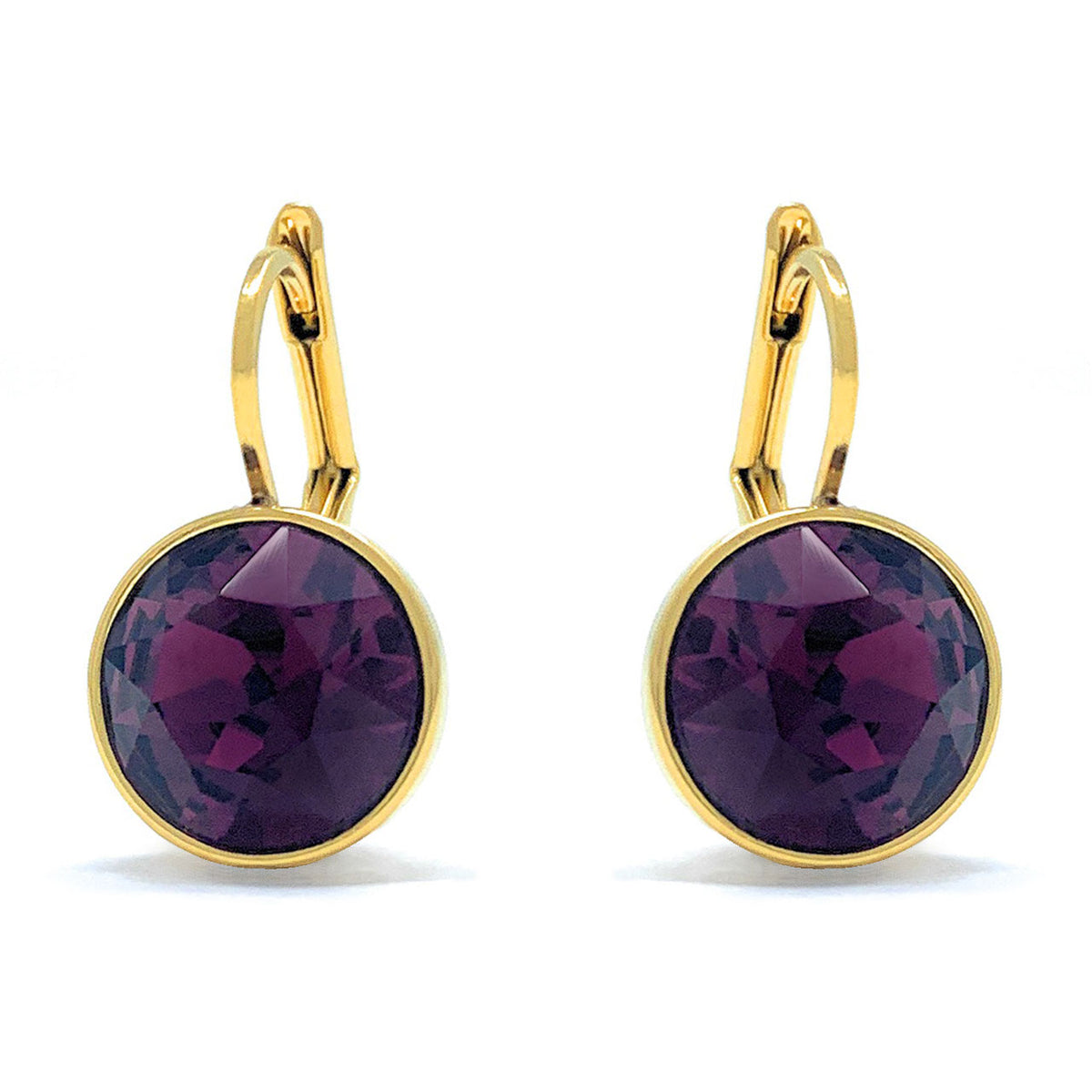 Drop Earrings with Purple Amethyst Crystals Gold Plated