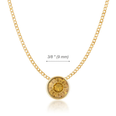 Harley Small Pendant Necklace with Yellow Brown Light Topaz Round Crystals from Swarovski Gold Plated - Ed Heart