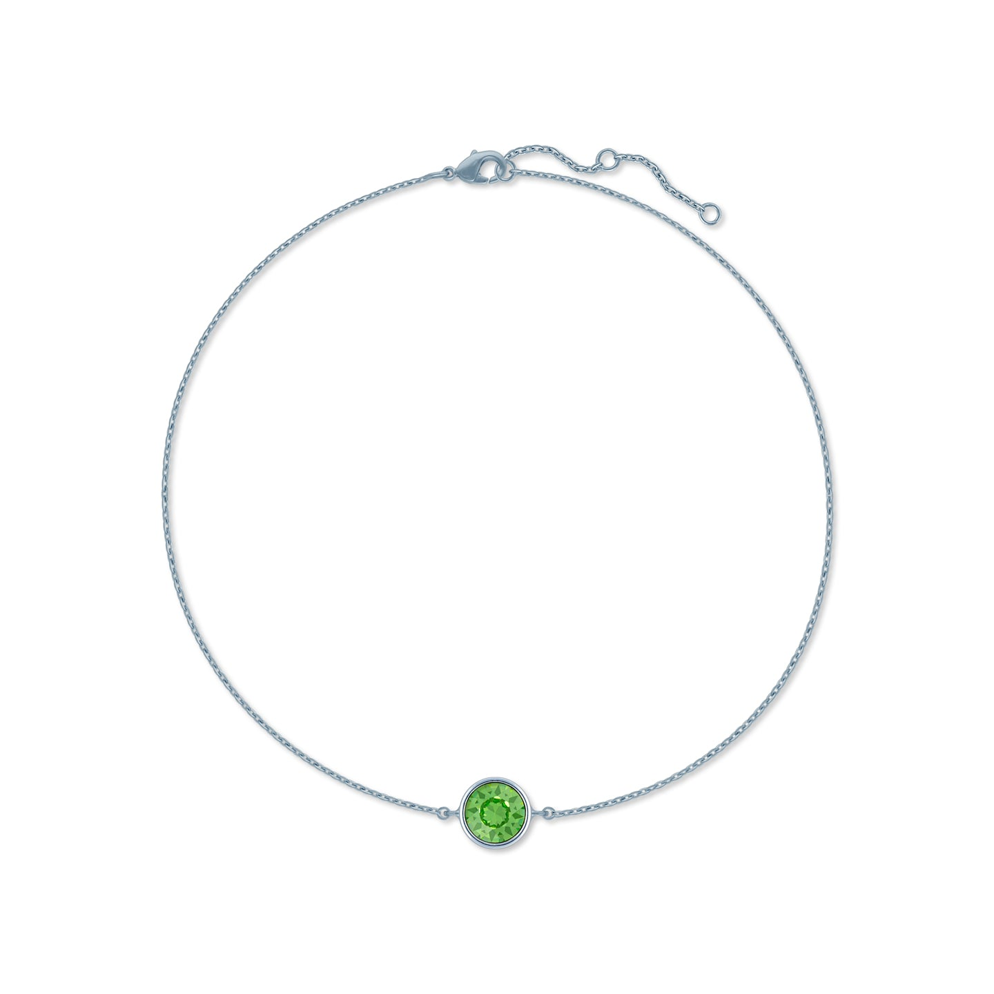 Harley Chain Bracelet with Green Peridot Round Crystals from Swarovski Silver Toned Rhodium Plated - Ed Heart