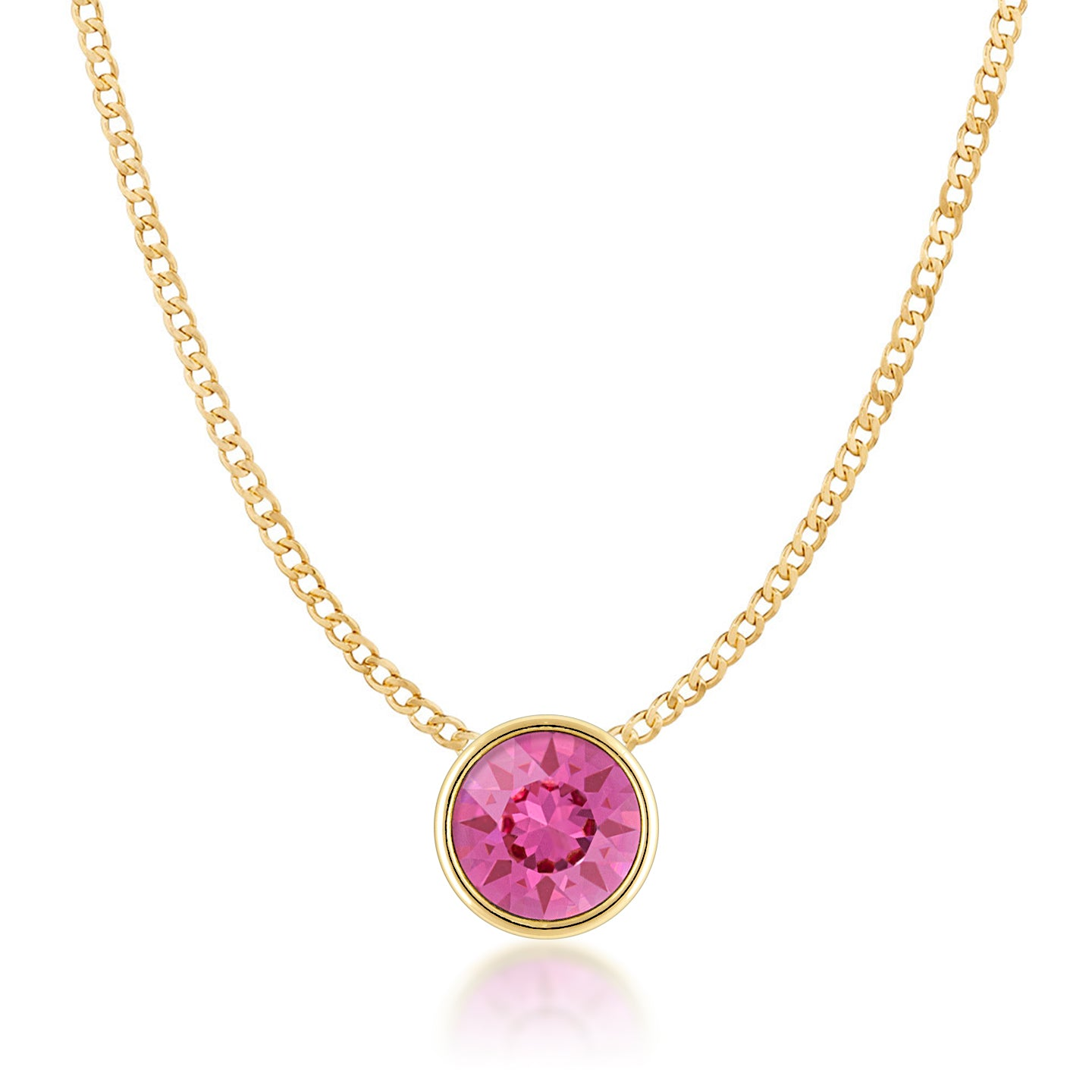 Harley Small Pendant Necklace with Pink Rose Round Crystals from Swarovski Gold Plated - Ed Heart