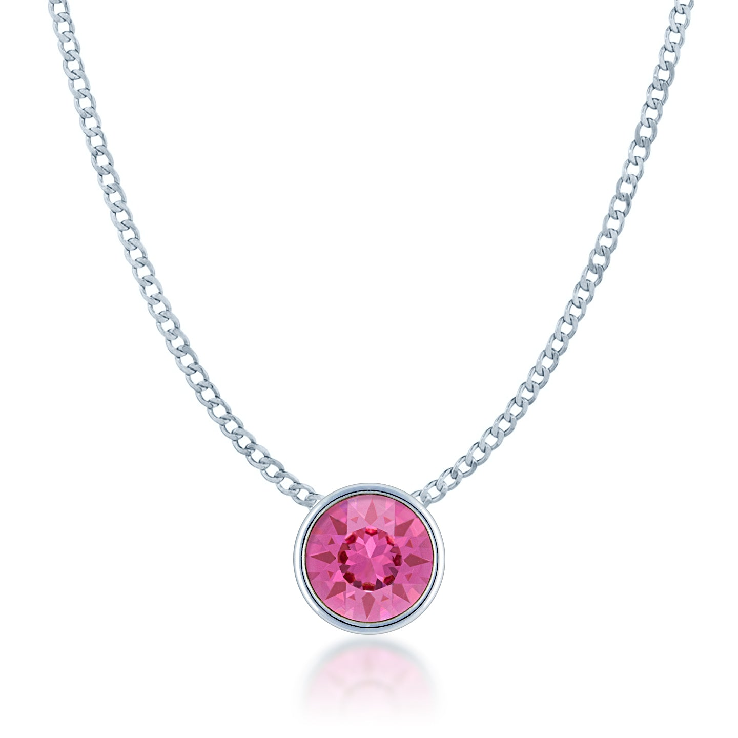 Harley Small Pendant Necklace with Pink Rose Round Crystals from Swarovski Silver Toned Rhodium Plated - Ed Heart