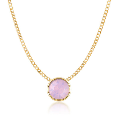 Harley Small Pendant Necklace with Pink Rose Water Round Opals from Swarovski Gold Plated - Ed Heart