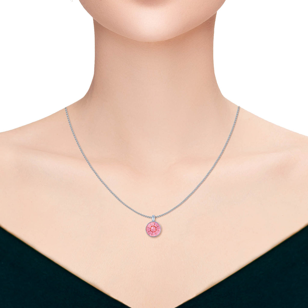 Bella Pendant Necklace with Pink Light Rose Round Crystals from Swarovski Silver Toned Rhodium Plated - Ed Heart