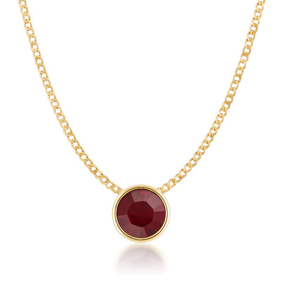 Harley Small Pendant Necklace with Red Siam Round Crystals from Swarovski Gold Plated - Ed Heart