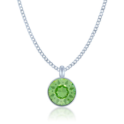 Bella Pendant Necklace with Green Peridot Round Crystals from Swarovski Silver Toned Rhodium Plated - Ed Heart