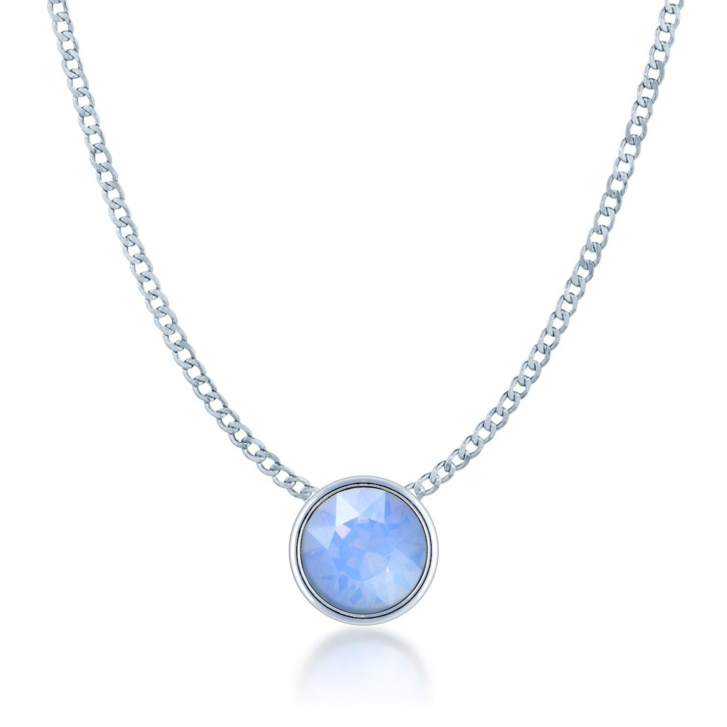 Harley Small Pendant Necklace with Air Blue Round Opals from Swarovski Silver Toned Rhodium Plated - Ed Heart