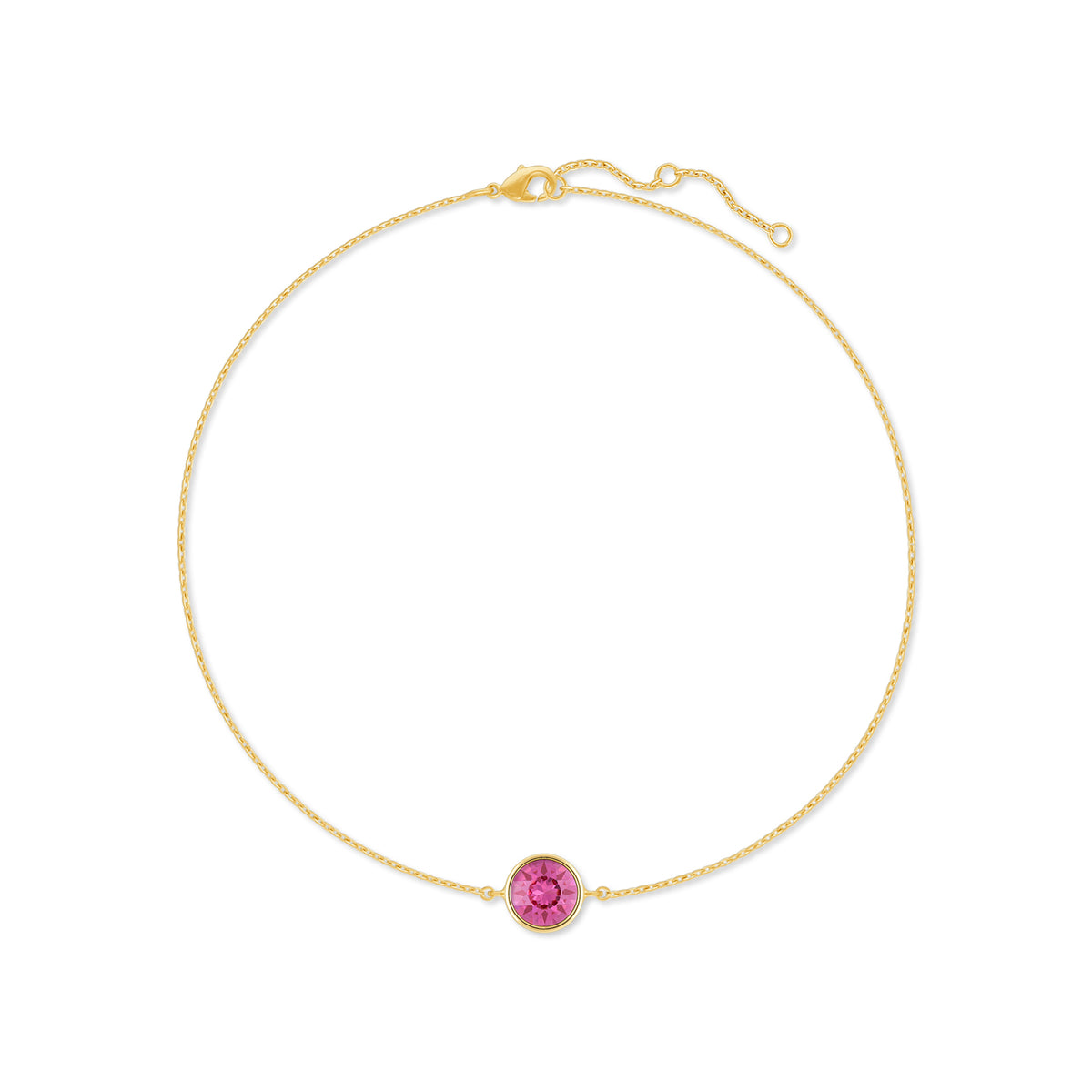 Harley Chain Bracelet with Pink Rose Round Crystals from Swarovski Gold Plated - Ed Heart