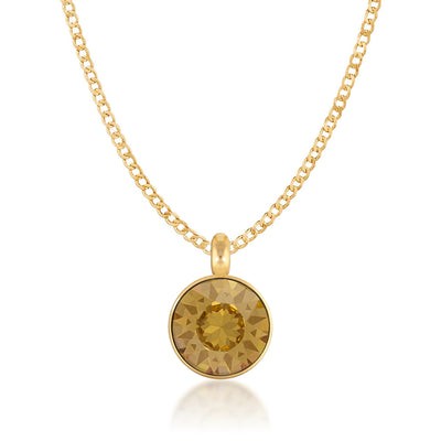 Bella Pendant Necklace with Yellow Brown Light Topaz Round Crystals from Swarovski Gold Plated - Ed Heart