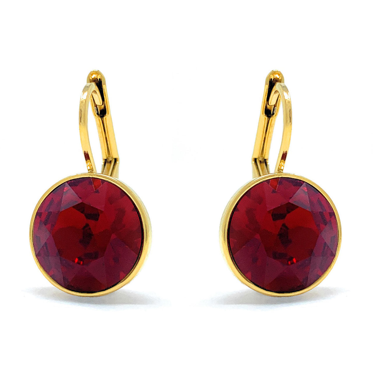 Drop Earrings with Red Crystals Gold Plated